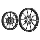 Fly Lion AV1A 10 Spokes Bike Alloy Wheel Black Set of 2 17/15 Inch Front Disc/Rear Drum-Bajaj Avenger 150 Street