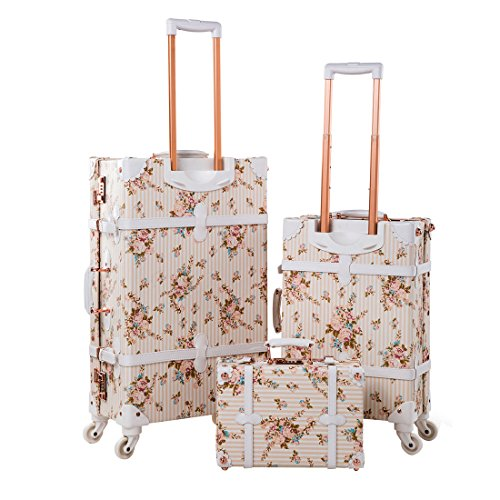 """13"""" 20"""" 26"""" Women Floral Pu Leather 3 Pieces Travel Luggage Set with Spinner Wheels 2"""