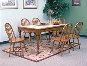 7PC Tile Top Dining Table And Chairs Set Table Chair Sets