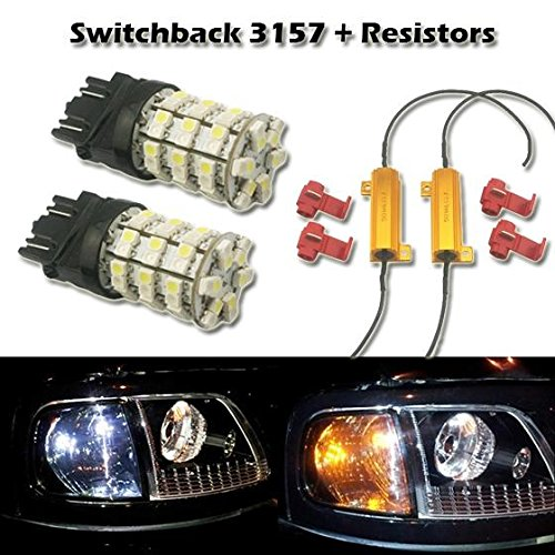 Partsam 2x 3157 White Amber Switchback LED Bulbs Front Turn Signal Light Blinker 60-SMD +Load Resistors 3157A 3357A 3457A 4157NA 3757A 3057A 3057 Standard Type (NOT CK) (02 Camaro Signal Lights compare prices)