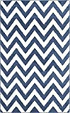 Safavieh Amherst Collection AMT419P Navy and Beige Indoor/Outdoor Area Rug, 8-Feet by 10-Feet