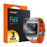Spigen® [Gear 2] [Full Coverage] Samsung Gear 2 Screen Protector Clear [Flex] [3-Pack] Clear Screen Protector Flexible Wet Screen Protector for Samsung Gear 2 (2014) - Flex (SGP10838)
