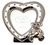 Silver plated Christening photo frame with teddy bear and pink and blue crystals