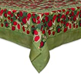Couleur Nature 59-inches by 86-inches Fruit Tablecloth, Red/Green