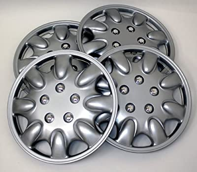 TuningPros WSC-022S15 Hubcaps Wheel Skin Cover 15-Inches Silver Set of 4