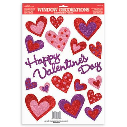 Happy Valentines Day Glitter Hearts Window Sticker Decorations (Pack of 1)