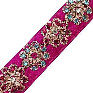 Rosa bordada Designer Home Décor ajuste de la cinta del cordón de costura Apparel Carft Fronteriza de cinta por la yarda marca indianbeautifulart en BebeHogar.com