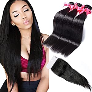 Free Queen Hair 7A Brazilian Straight Hair Weave 3bundles with Lace Closure Brazilian Virgin Hair Straight with Closure Cheap Virgin Human Hair (24