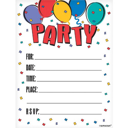 Balloon Party Invitations- 8ct