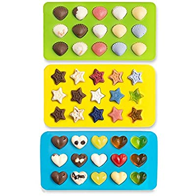 Bessmate Premium Silicone Candy Molds & Silicone Ice Trays - 3 Pcs Stars & Hearts & Shells Molds - Making Homemade Chocolate, Jelly, Gummy, Soap ,Kids Toys - Green/Yellow/Blue