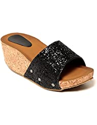 Adorn Latest Fashion Black Synthetic Leather Women Casual & Party Wear Wedges