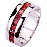 Yazilind Women's Ring with Emerald Cut Red Garnet Gemstones Silver UK Size Christmas Gift Wedding Party