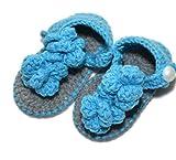 Summer Style Double Carrick Bend Handmade Crochet Baby Shoes Sandals Infant Shoes Blue 11.5cm