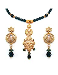 68.00 Grams White Cubic Zirconia & Green Glass Gold Plated Brass Necklace Set