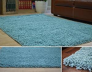 duck egg blue dense thick luxury shaggy rug small medium. Black Bedroom Furniture Sets. Home Design Ideas