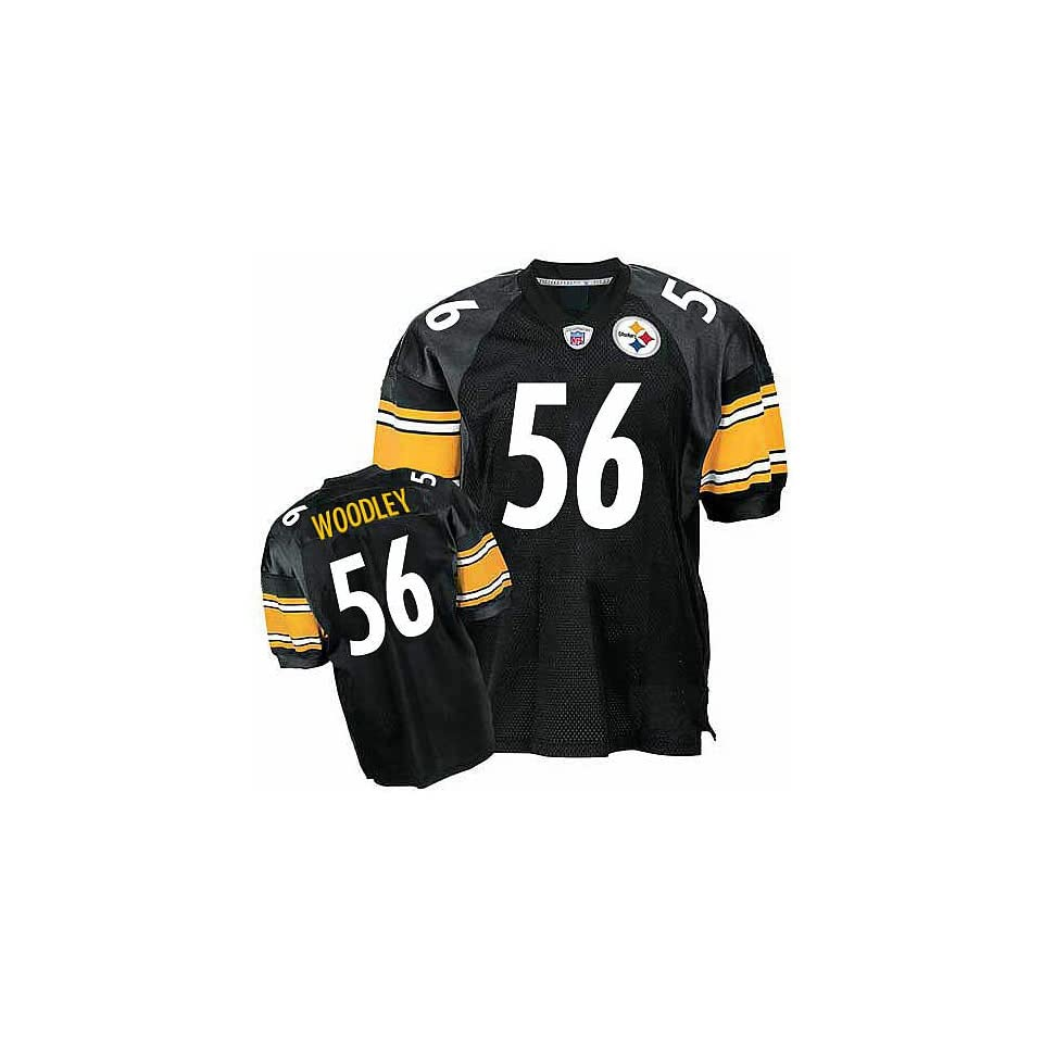 Pittsburgh Steelers 56 Lamarr Woodley Black NFL Jerseys Authentic Football Jersey Size 48 56