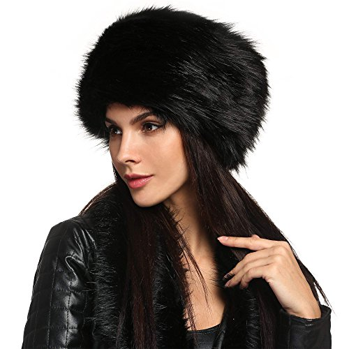Zeogoo Women Winter Faux Fur Russian Cossack Style Hat Headband Ear Warmer
