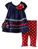 Bonnie Baby Girls Infant Navy and Red Legging Set
