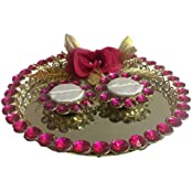 Loops N Knots Pink Rose Wedding /Engagement Ring Platter/Tray With Two Ring Holders