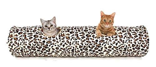 PAWZ Road ペットのおもちゃ 超長い猫のトンネル 2穴付き 豹柄 洗濯OK 直径25CM