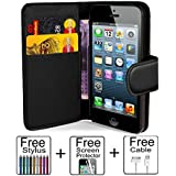 iPhone 4 case,iPhone 4s case,Wallet case,PU Leather case,by Mokai Start® ,Credit Card Holder,Flip Cover Skin Case Pouch[Black] for iPhone 4 4S+USB Data Cable(One year warranty)+ Screen Protector+ Stylus Pen
