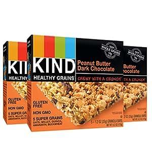 KIND Healthy Grains Granola Bars, Peanut Butter Dark Chocolate, 1.2oz Bars, 15 Count