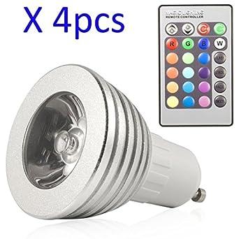 hf 4pcsx gu10 3w t l commande led led rgb ampoule lumi re changement changement de. Black Bedroom Furniture Sets. Home Design Ideas