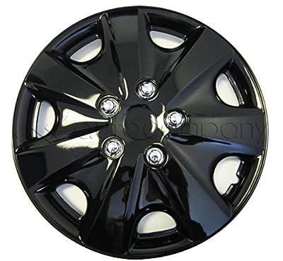 "Black 15"" Hub Caps Full Wheel Rim Covers w/Steel Clips (Set of 4) - KT-957B-15"