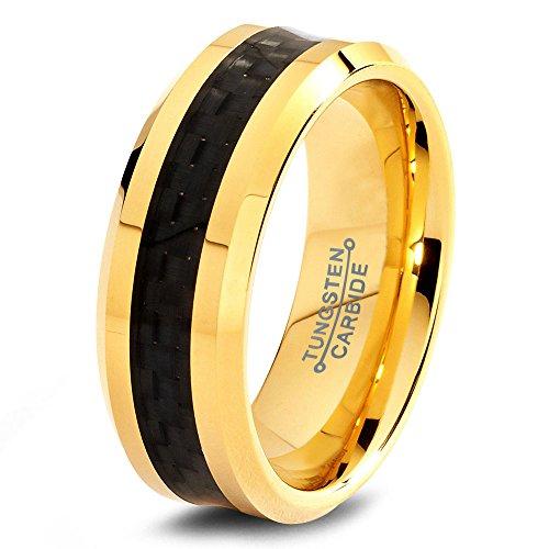 Tungsten Wedding Band Ring 8mm for Men Women Comfort Fit 18k Yellow Gold Black Carbon Fiber Brushed Lifetime Guarantee Size 27,5