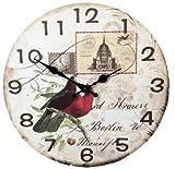 (エイムオン) Aim-ON 《時と、想いを刻む》 おしゃれなデザインが眼を魅く 北欧 をイメージした アンティーク 風 壁掛け 時計 (鳥×切手)