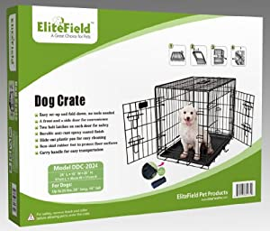 "EliteField Two Door Folding Dog Crate with RUBBER FEET, 5 Sizes, 10 Models Available, FREE Shipping (2-Door Crate, 24""L x 18""W x 20""H) from EliteField"