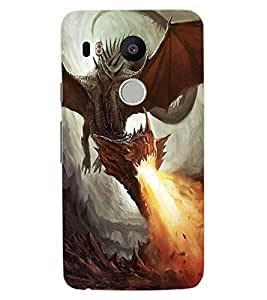 ColourCraft Fire Breathing Dragon Design Back Case Cover for LG GOOGLE NEXUS 5X