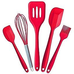 BakeWarePlus 5 Pcs/set Silicone Turner Spatula Basting Brush Whisk Kitchen Baking Utensils