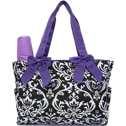 Damask Print Quilted Diaper Bag Tote Purse 2 Piece Set w/ Changing Pad (purple)