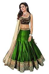 Awesome Fab Green Colour Bangalori Silk Semi-stitched Embroidered Lehenga Choli