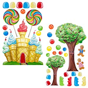 Instant murals candyland tree castle wall for Candyland wall mural