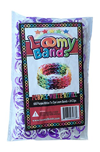 Tie Dye Loom Bands - 600 Beautiful Purple White Tie Dye Rainbow Colored Loom Refill Pack - Includes 24 Clips - Make Dozens Of Unique Rubber Band Bracelets! - 1