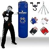 TurnerMAX Kids Kickboxing Punch Bag Set Filled Boxing Bag Gloves Ceiling Hook Swivel Chain MMA Punchbag Blue 4 footby TurnerMAX