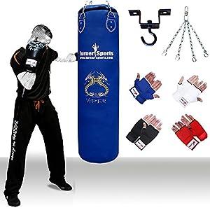 TurnerMAX Kids Kickboxing Punch Bag Set Filled Boxing Bag Gloves Ceiling Hook Swivel Chain MMA Punchbag Blue 4 foot