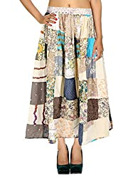 Vinatge Designs Casual Skirt Cotton Floral Patchwork Womens Skirts By Rajrang