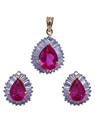 Gehna Tourmaline Stone Studded Pear Shape Pendant Set With Yellow Rhodium