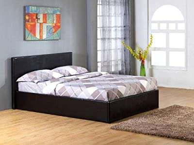 Ottoman 5ft Gas Lift Up Storage King Size Bed Black Faux