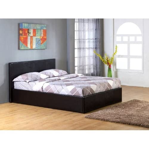 Black 4`Small Double Gas Lift Up Ottoman Faux Leather Storage Bed