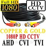 USG 100ft Premium Grade CCTV Cable for 1080P 2MP 3600TVL High Definition Analog, AHD, CVI + TVI Equipment * Gold & Copper BNC Connectors * Siamese 24AWG Power & 26AWG Video * NOT FOR SDI