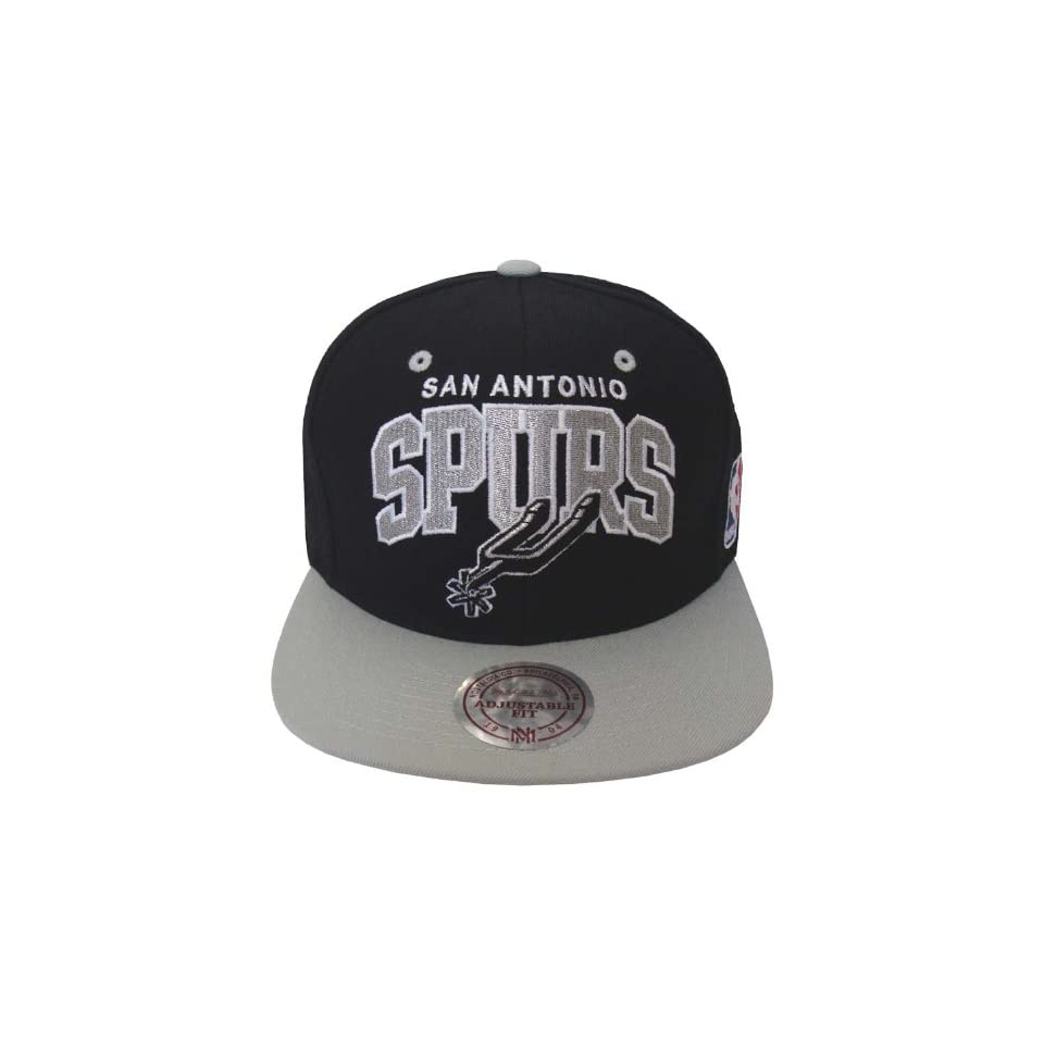 97e9b92b04aaf San Antonio Spurs Retro Mitchell   Ness Block Hat Cap Snapback Black Grey