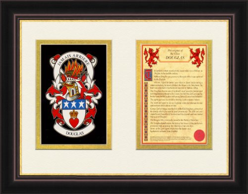 Douglas Ancestry Coat Of Arms Frame Cherry With Gold