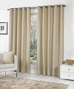BEIGE 100% COTTON 66x54 168x137CM FULLY LINED RING TOP CURTAINS DRAPES from Curtains