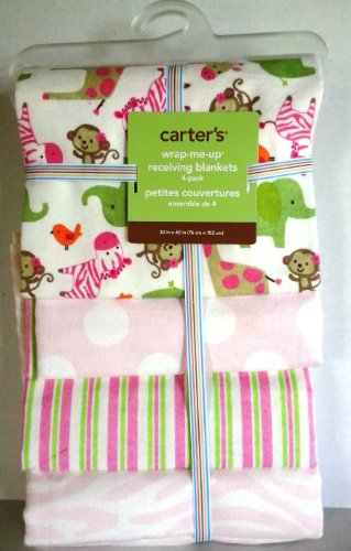 Carter's 4pk Receiving Blankets, Pink Zebra
