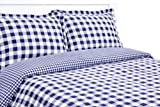 Elite Home 300 Thread Count Harvard Check Print 100-Percent Cotton Sateen 2-Piece Duvet/Sham Set, Twin, Grey