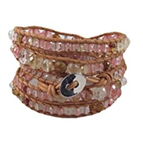 Natural Leather Volcano Cherry Quartz Chan Luu Style Wrap Bracelet